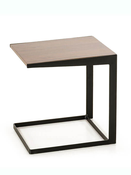 walnut black end table