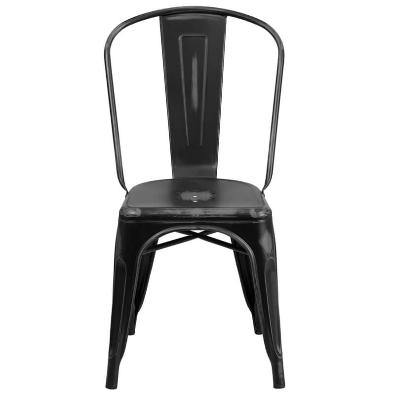 tonic distressed black metal indoor stackable chair