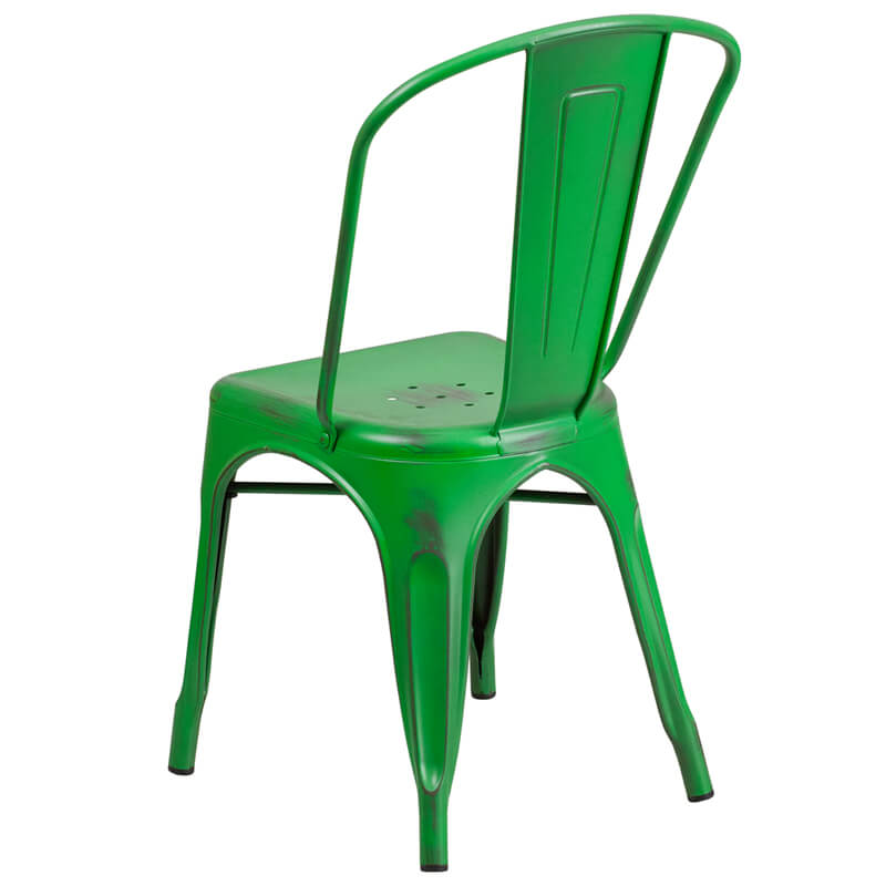 tonic distressed green metal indoor stackable chair 2