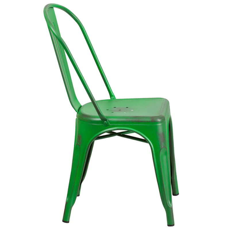 tonic distressed green metal indoor stackable chair 3