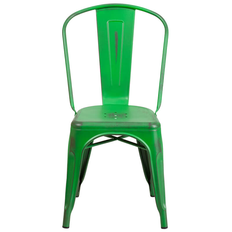 tonic distressed green metal indoor stackable chair