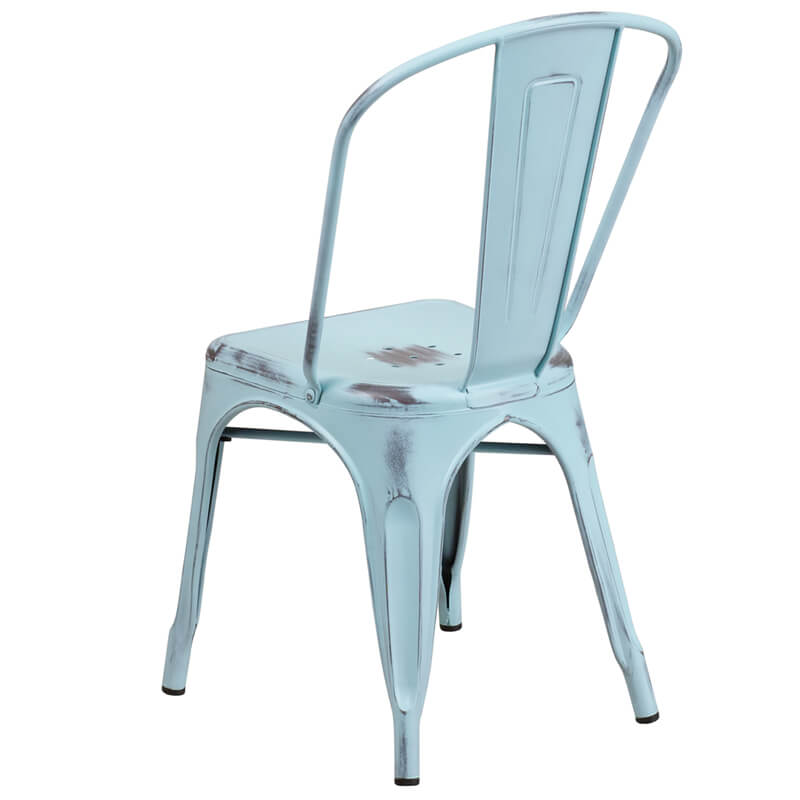tonic distressed light blue metal indoor stackable chair 2