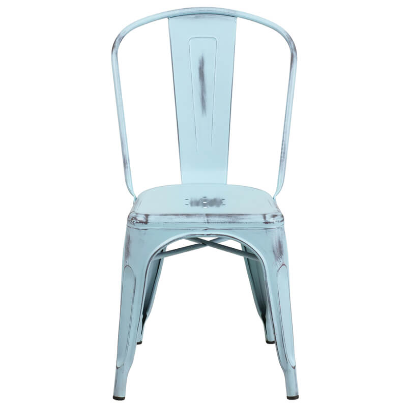 tonic distressed light blue metal indoor stackable chair