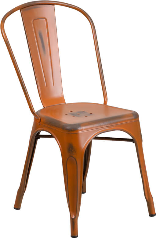 tonic distressed orange metal indoor stackable chair 3