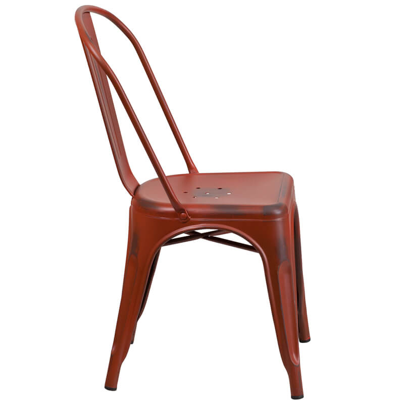 tonic distressed red metal indoor stackable chair 2