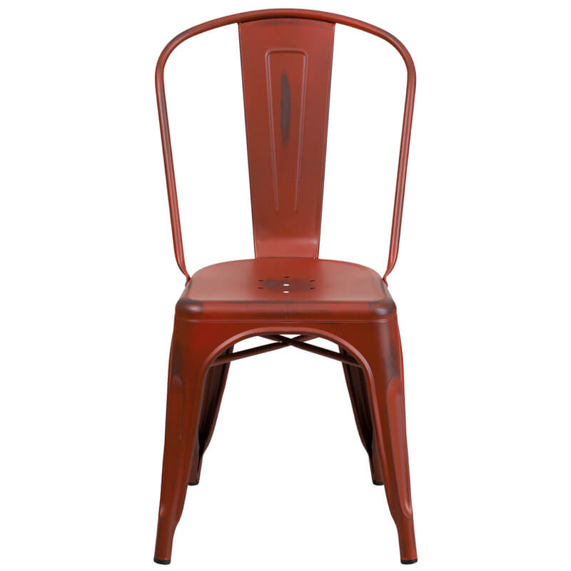 tonic distressed red metal indoor stackable chair 4