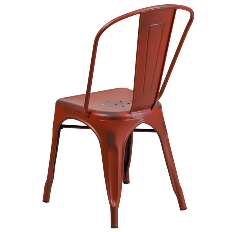 tonic distressed red metal indoor stackable chair