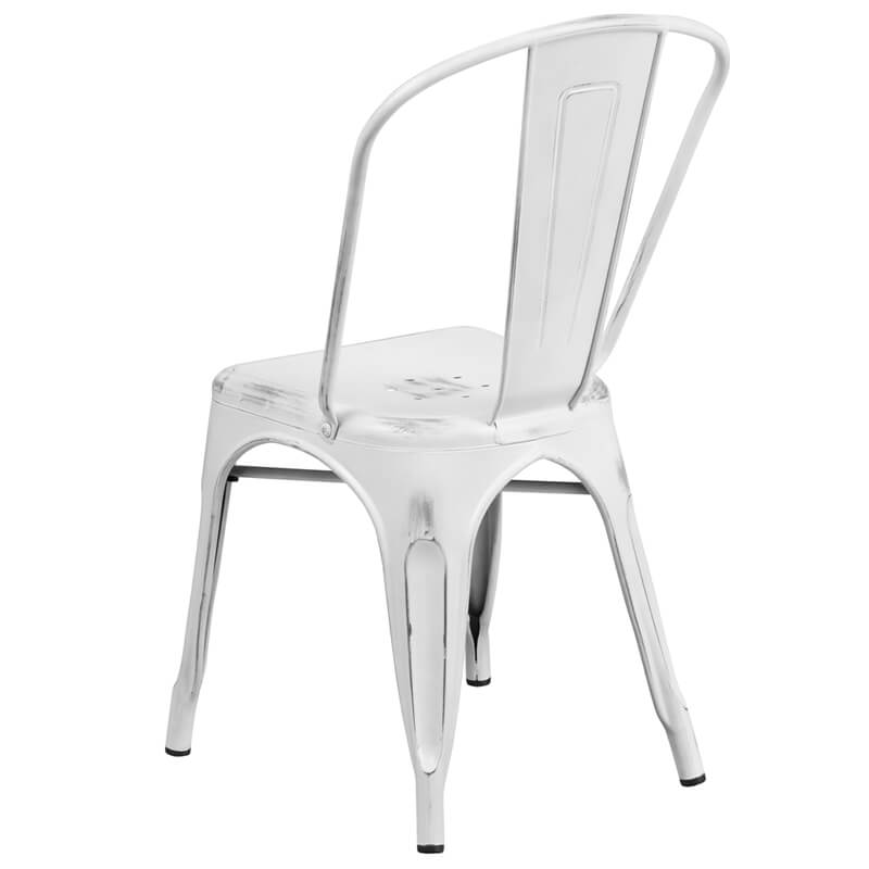 tonic distressed white metal indoor stackable chair 2