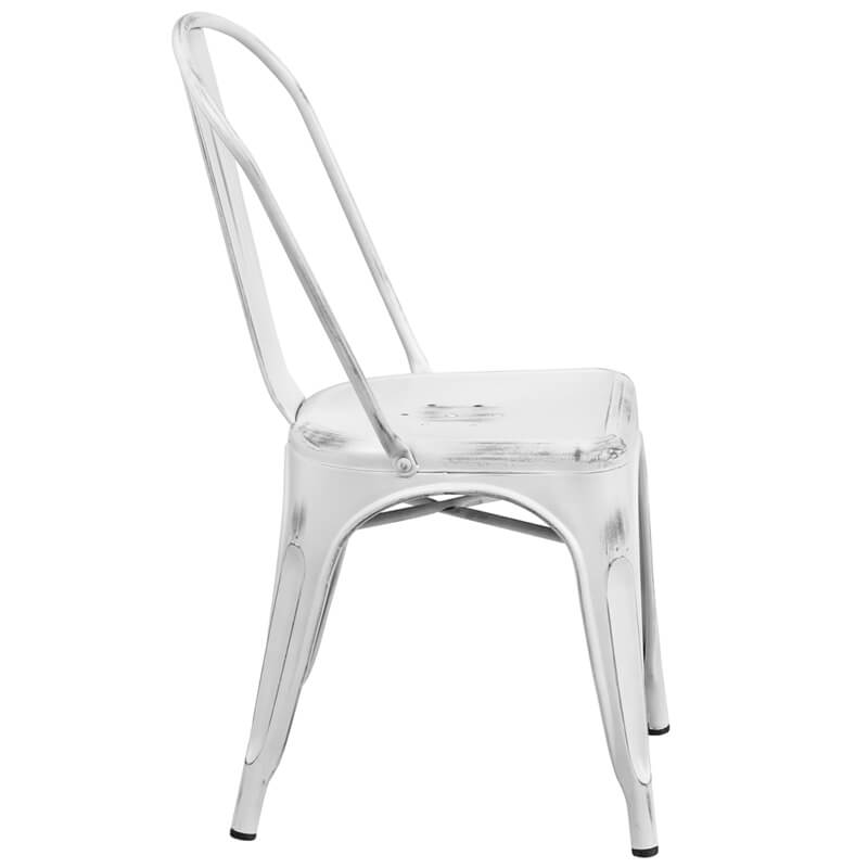 tonic distressed white metal indoor stackable chair 3