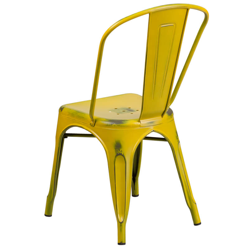 tonic distressed yellow metal indoor stackable chair 4