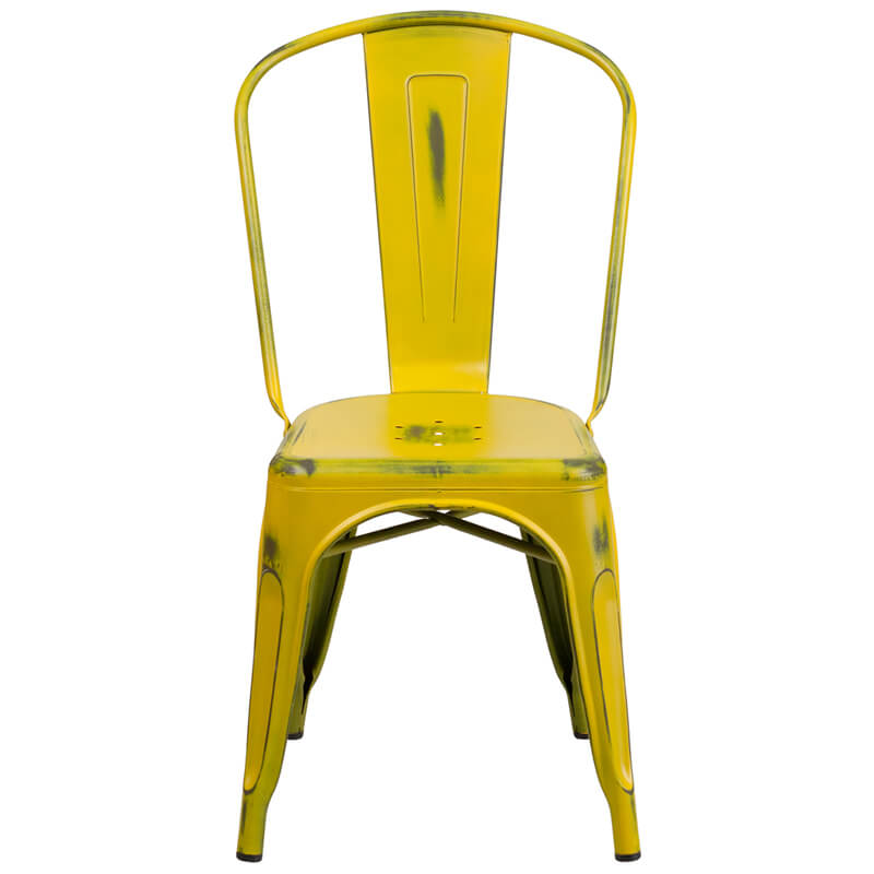 tonic distressed yellow metal indoor stackable chair