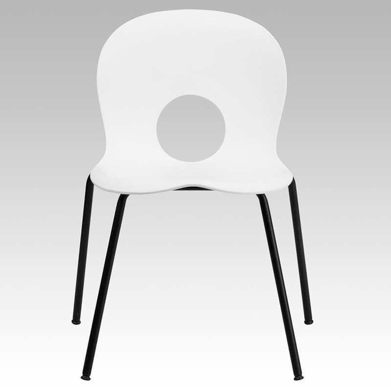 white circle cut out chair