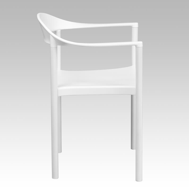 white plastic armchair