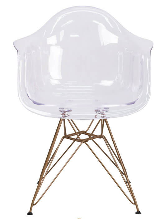 clear gold wire armchair