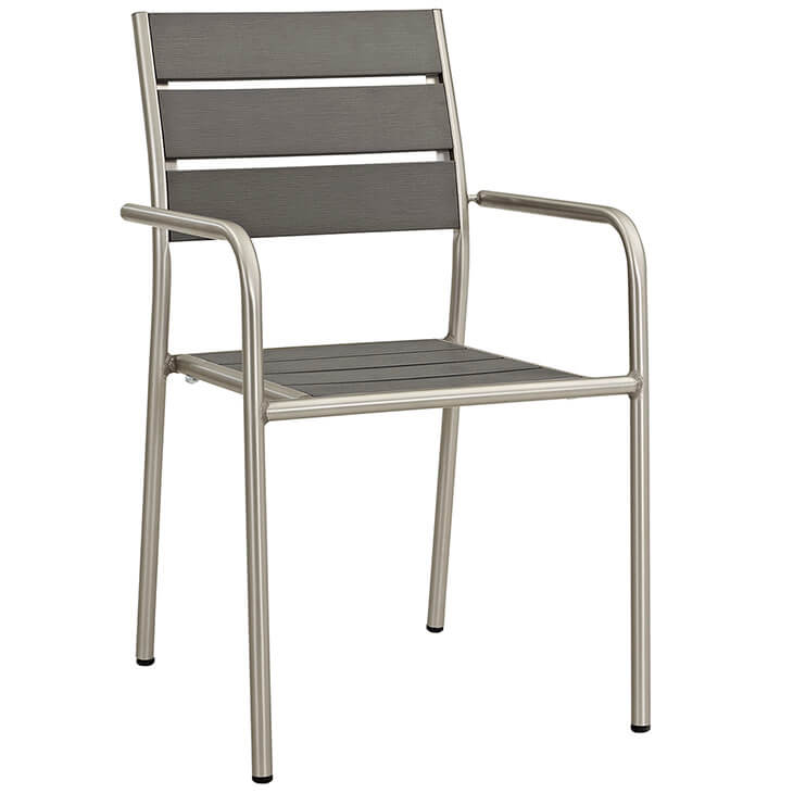 Modern Outdoor Aluminum Wood Armchair 3