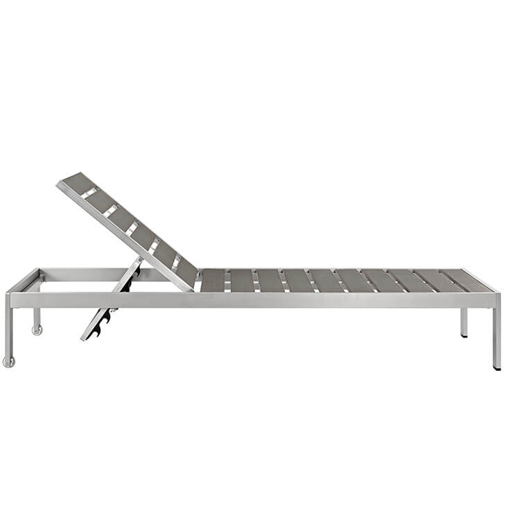 Modern Outdoor Aluminum Wood Chaise Lounge 2