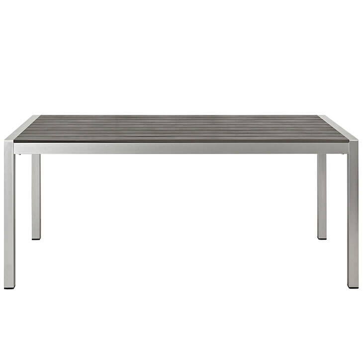 Modern Outdoor Aluminum Wood Dining Table 2