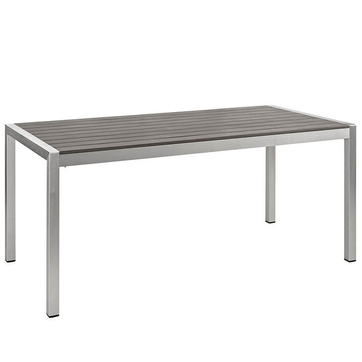 Modern Outdoor Aluminum Wood Dining Table 3