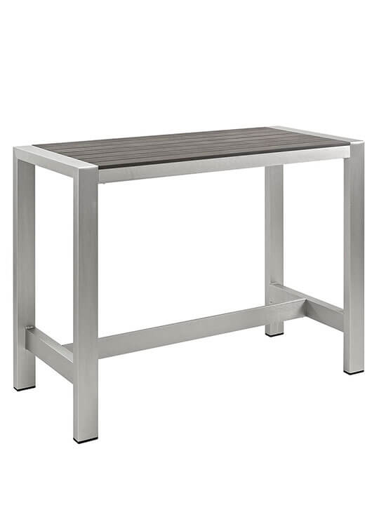 Modern Outdoor Aluminum Wood Large Bar Table