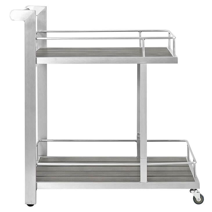 Modern Outdoor Aluminum Wood Rolling Bar Cart