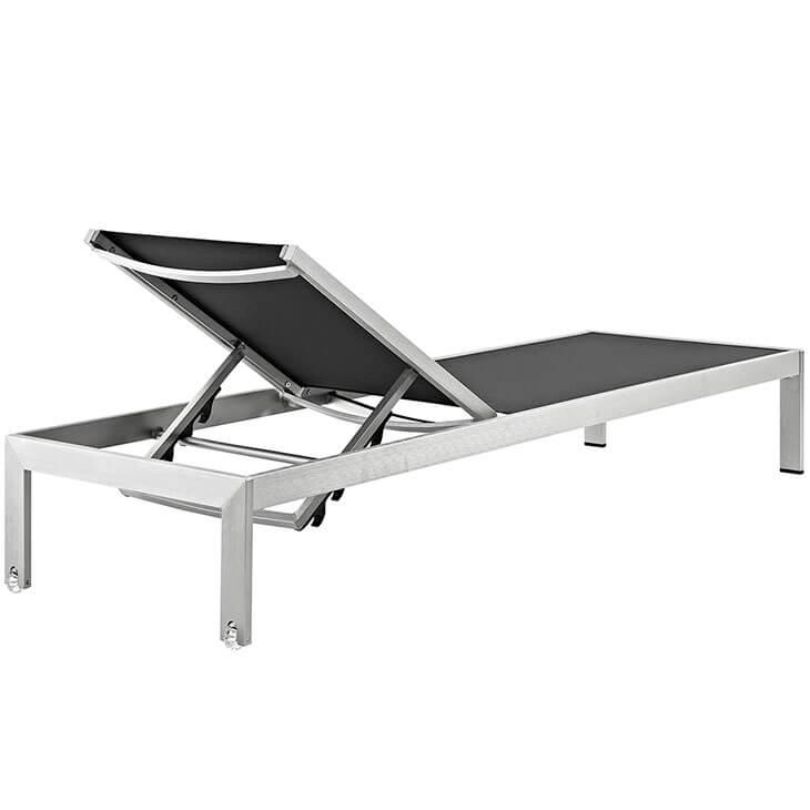 black mesh outdoor aluminum chaise lounge