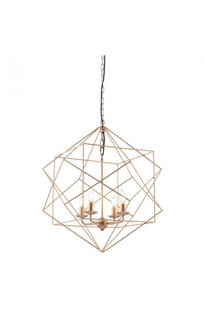 geometric gold wire pendant light