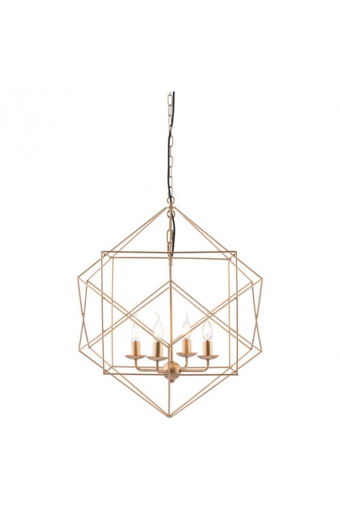 gold wire geometric pendant lighting