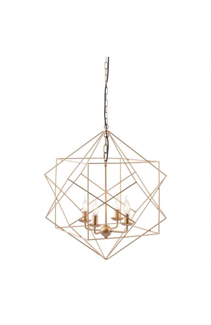 gold wire geometric pendant
