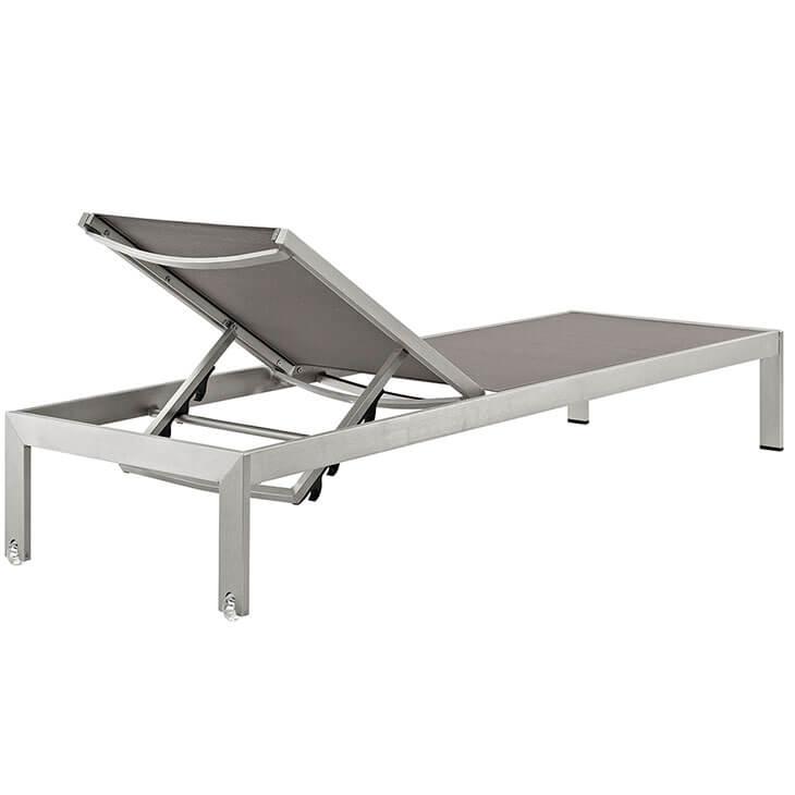 grey modern outdoor aluminum chaise lounge chair