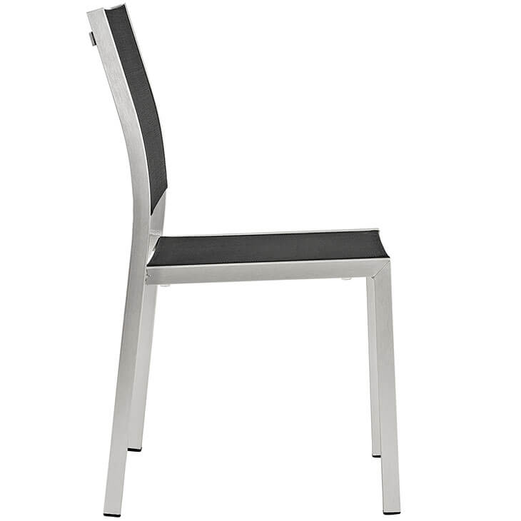 modern outdoor aluminum chair silver black