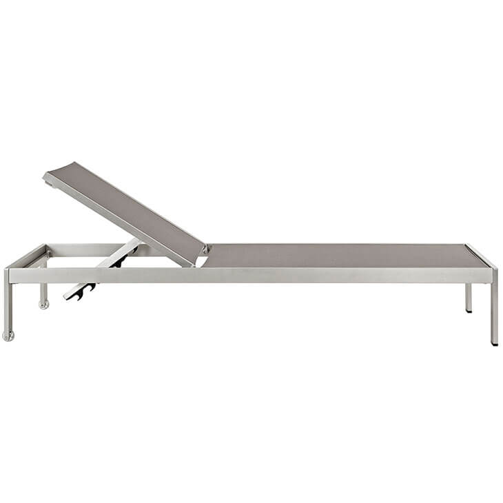modern outdoor aluminum chaise lounge grey mesh