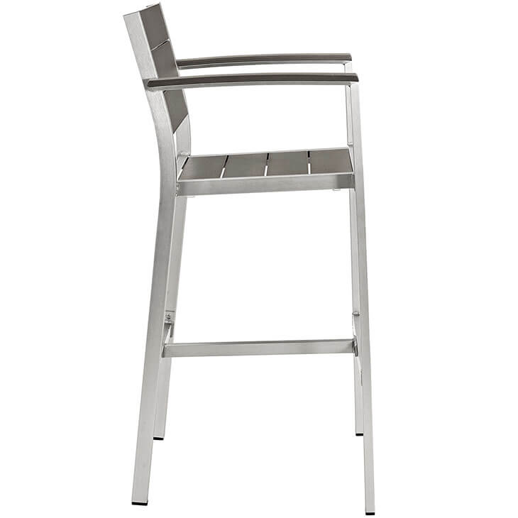 modern outdoor aluminum wood arm barstool 2