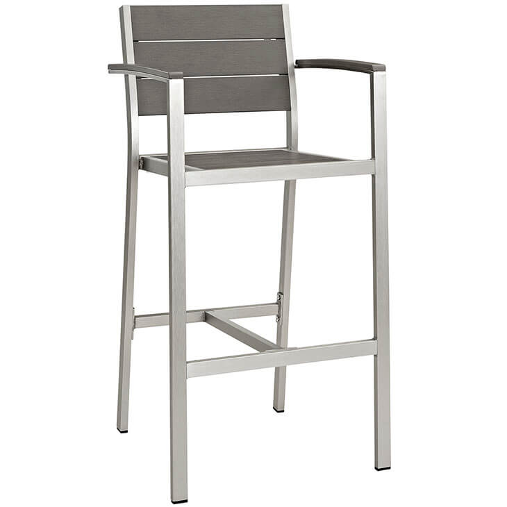 modern outdoor aluminum wood arm barstool 3