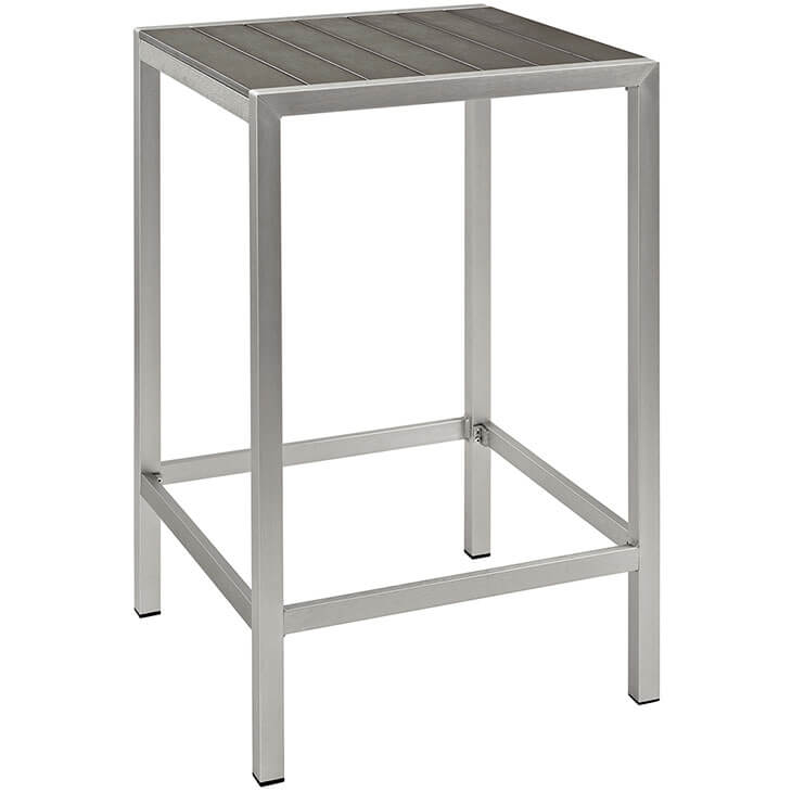 modern outdoor aluminum wood bar table