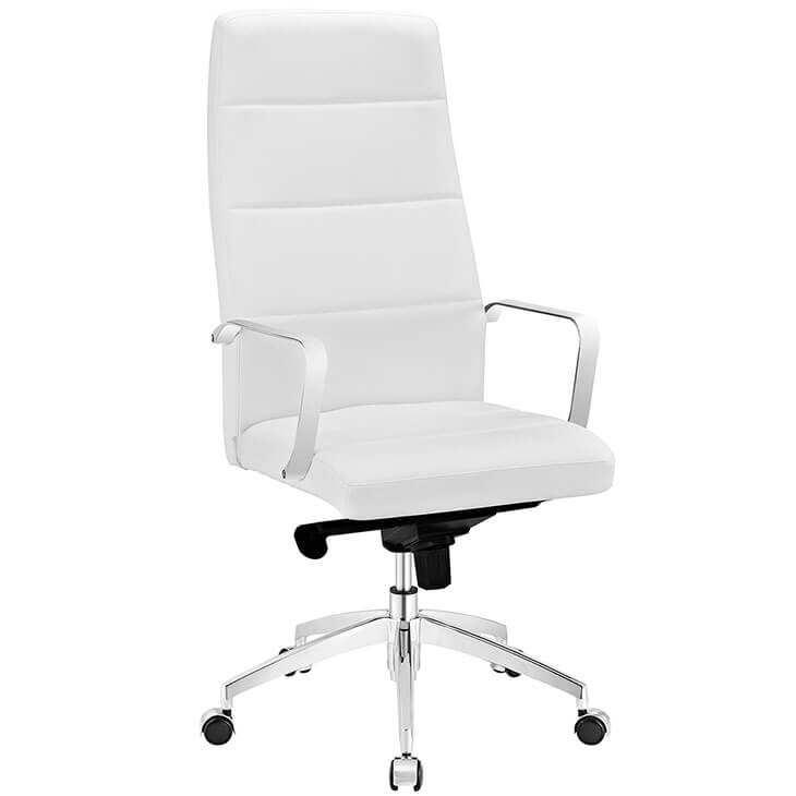 office chair high back white leather