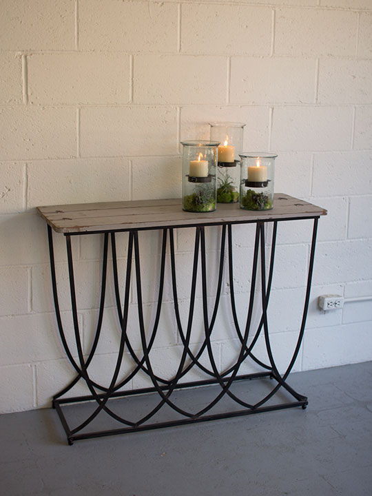 black metal wood console table