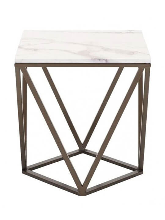 Brass marble end table