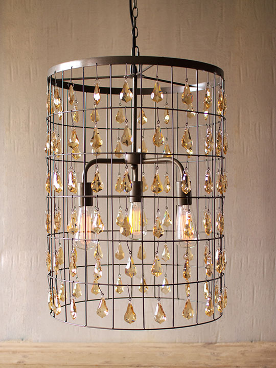 Glass Gem Industrial Caged Cylinder Chandelier