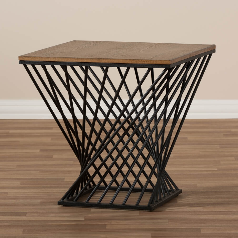 Twist Black Wire Wood Side Table 3