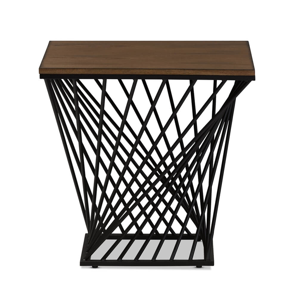 Twist Black Wire Wood Side Table 4