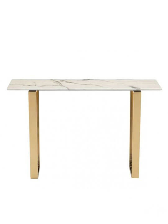 white marble gold console table