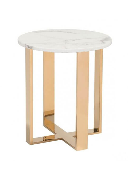 White marble gold side table