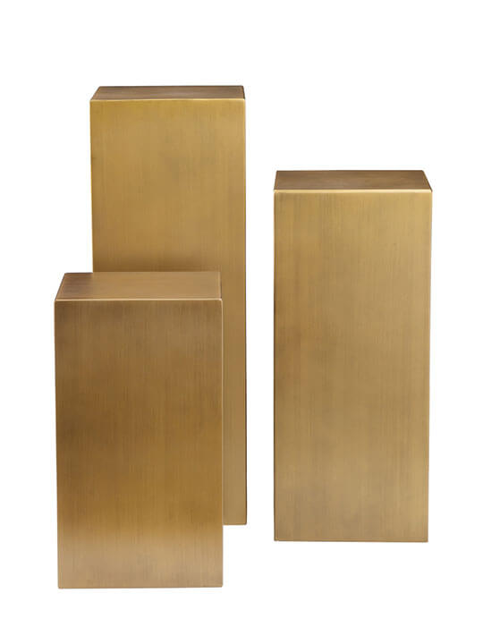 brass cube pedestal set