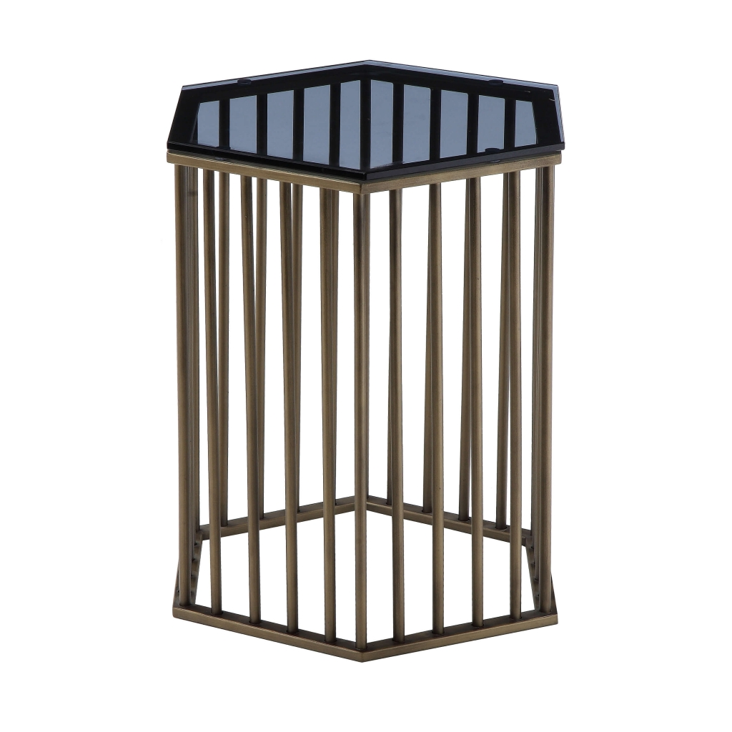 brass geometric accent table