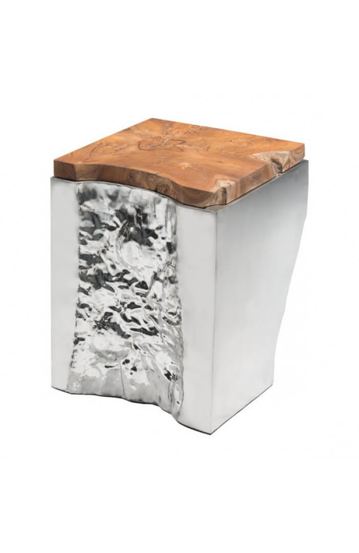 palladium silver wood side table 2