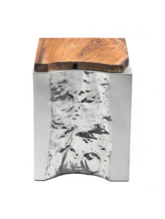 silver wood side table
