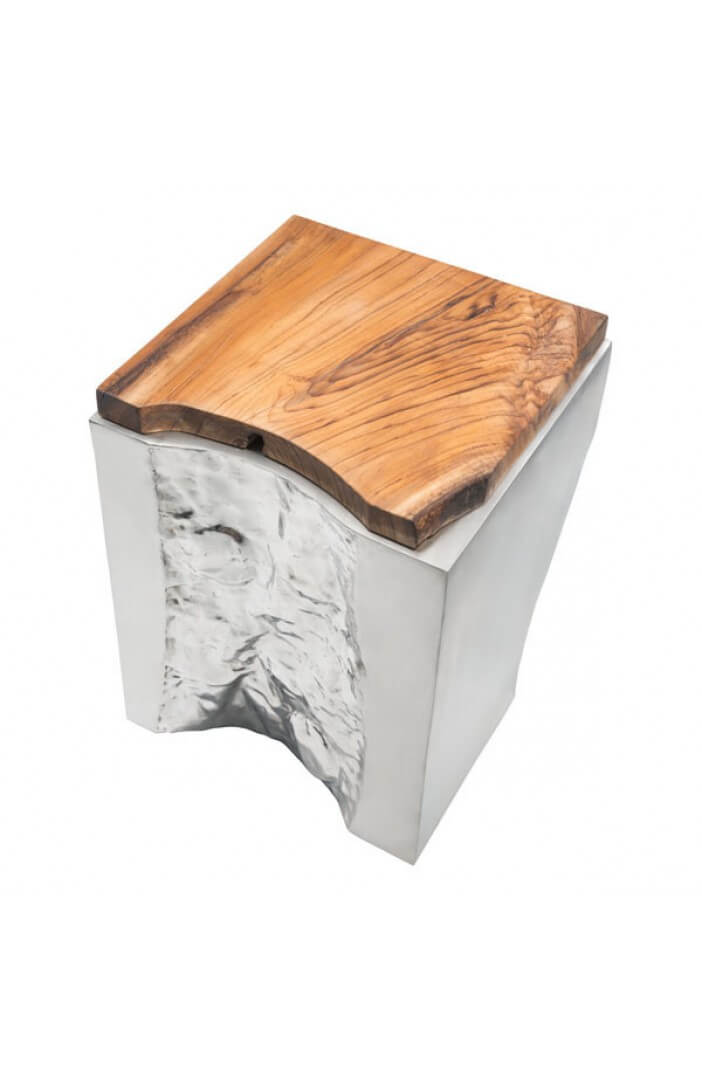 palladium silver wood side table 3