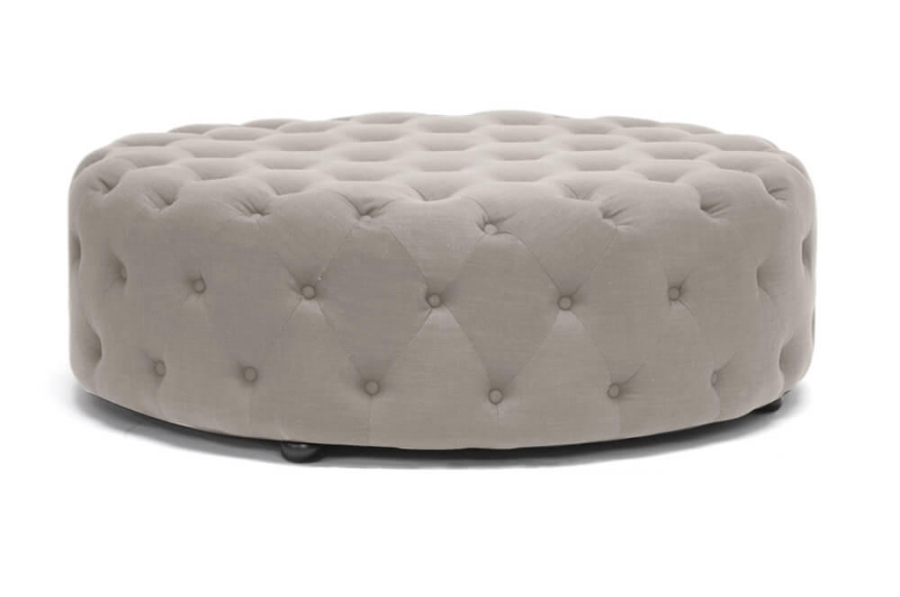 tufted large fabric ottoman beige