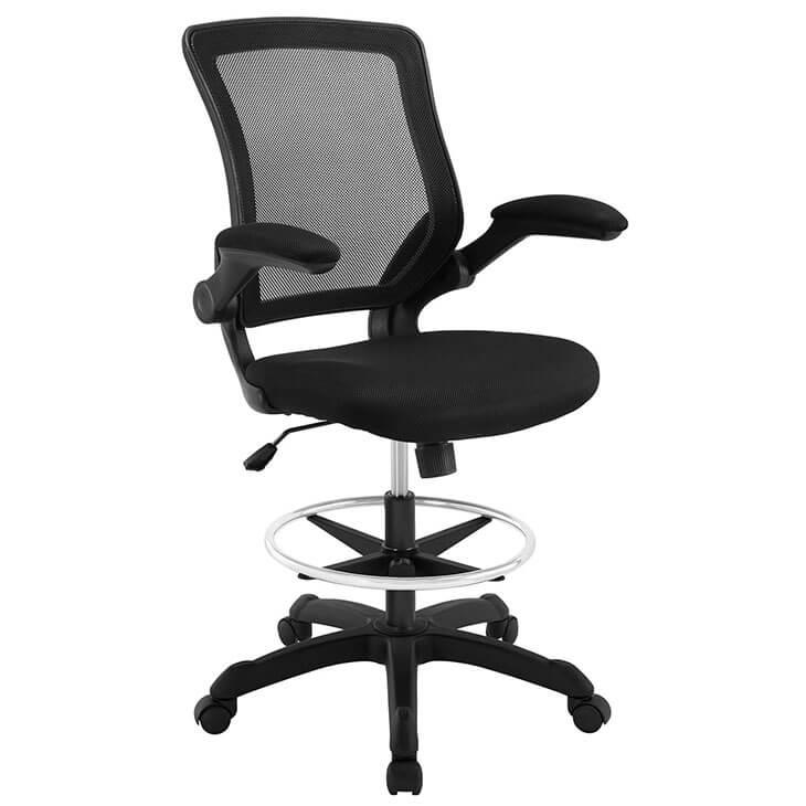 black mesh drafting stool