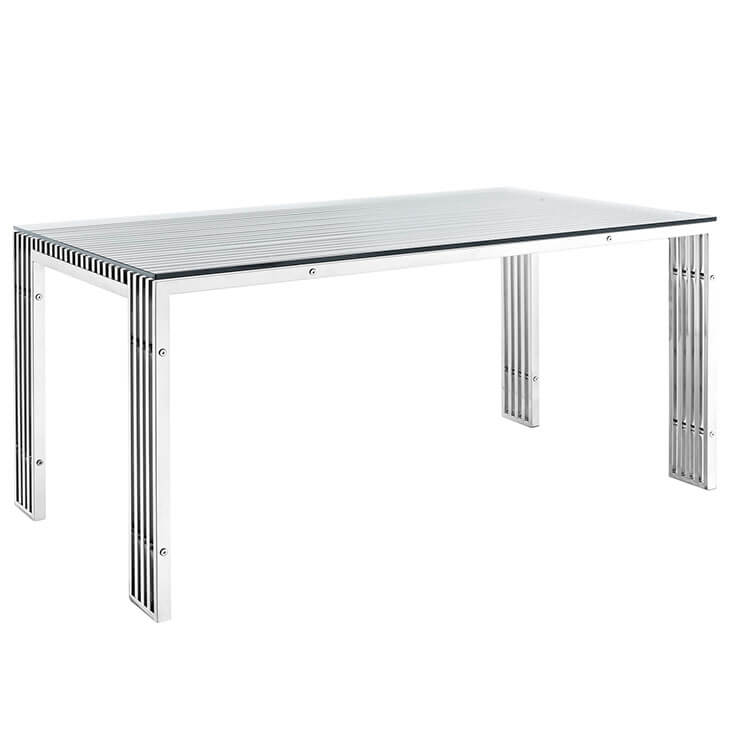 brickell chrome glass dining table